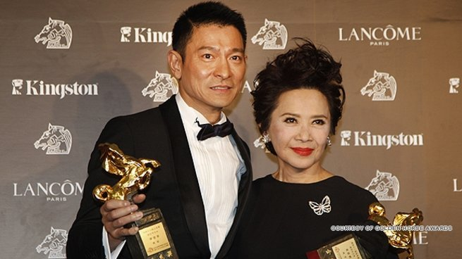 "Deanie Ip poses with ""A Simple Life"" co-star Andy Lau at the Golden Horse Awards."