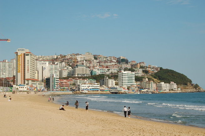 The beautiful Haeundae beach is a must-visit in Busan. (Photo credit:Wikipedia)